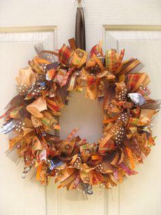 Fall ribbon wreath.