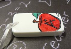 Teacher Apple Domino Christmas Ornament by JacquelinesCreations, $2.50
