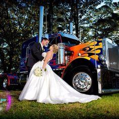 Semi Truck Wedding Photo
