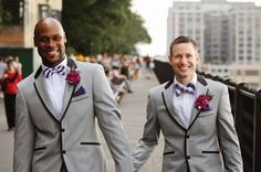 DOUBLE GROOM STYLE.  I don't know how I feel about matching groom suits (which I've seen several times but have never seen matching bridal gowns).  Either way, you can't deny these guys look great (but it could just be their smiles!).
