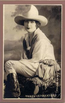 "Mabel Strickland was a very early rodeo trick rider and cowgirl. She was one of only two ladies to rope and bust steers in the 1920's. She also rode broncs, Although only 5' 4"" and 112 lbs dripping wet, she was tough as wang leather and was named Worlds Champion Lady Bronc Buster and Trick Rider in 1921."