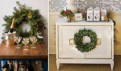 wreath on a bar cart