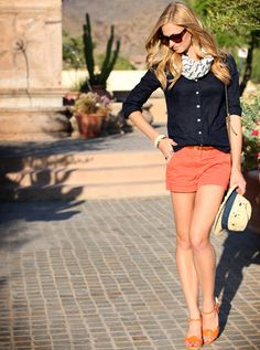 Coral shorts and cute wedges. Preppy spring/summer outfit.