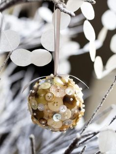 Button Snowball - 10 Easy-to-Make Holiday Tree Ornaments on HGTV