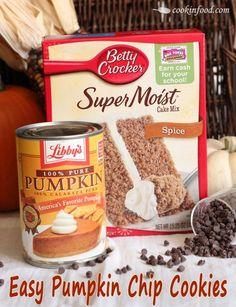 Easy Pumpkin Chip Cookies. Only 3 ingredients!
