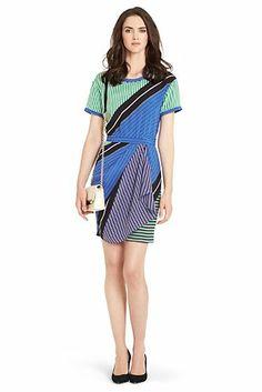 Eryn Draped Printed Silk Dress In Sailor Chevron Hot Green