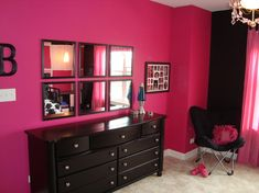 Hot pink and black for Kylie's room.