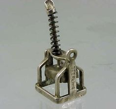Vintage RARE 1940's Sterling Silver Movable Paper Press Charm $53