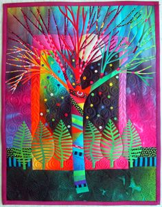 tree quilt, pattern, art quilt, color, beams