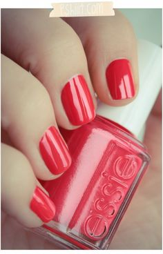 Essie Olé Caliente // I predict coral will be huge this spring/summer. I'm digging this possibly for my toes, since I hate color on my fingers. Just saw Michelle Williams' dress at the Oscars...same color. Retro gorgeous. nail polish, spring colors, verni, nail colors, manicur, red nails, nail arts, summer colors, coral toes