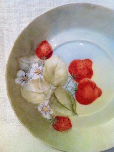 Vintage handpainted china plate strawberries fruit by Comforte, $9.00