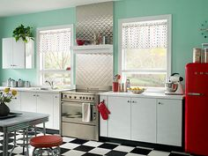 Shiny Metal Kitchen Decor to have a Stylish Cooking Space: Beautiful Kitchen Metal Decor Turquoise Wallpaint Red Refrigerator