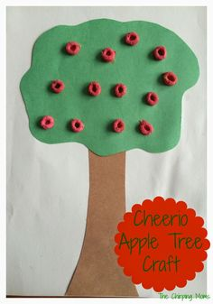 Fall Craft for Kids:  Cheerio Apple Tree