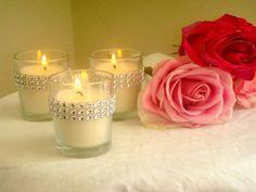 Set of 25 Silver Rhinestone Wrapped Votive Candles by ModMV, $50.00