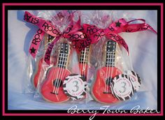Rock Star guitar cookie party favors