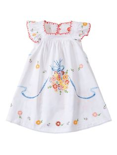 This dress is not Mexican embroidery, it is a Burda pattern (little girl,size 6-10 downloadable pattern available online) $5.95.(Burdastyle website)  they used a vintage embroidered tablecloth for this dress, a great use for a tablecloth, I thought.   Very pretty.