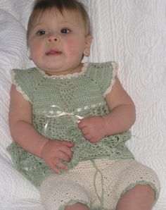 Baby Girl's Dress Pants Set Crocheted Sage  http://www.butterflykissesgifts.com/