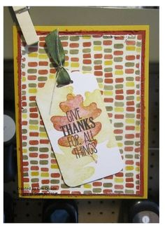 Stampin Up For all things stamp set fall card thankful. #stampinup