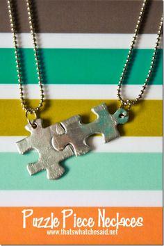 DIY Puzzle Piece Necklaces.