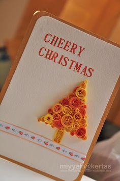 quill card, quill christma, christma tree, merri christma, christmas trees
