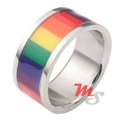 Stainless Steel Rainbow Film Pride Ring - I kind of want.