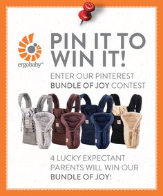 Ergobaby Bundle of Joy Baby Registry Contest!  Here are the rules:    1.  Login to your Pinterest account and follow Ergobaby.   2.  Visit our Baby Registry Board and comment on this pin with your due date.  3.  Re-pin one of the 4 Bundle of Joy Carriers onto your Baby Registry Board and tag with the hashtags:  #bundleofjoy #ergobaby  4.  Repin this pin.    Four winners, who complete all 4 steps by Mon 7/30 at 8pm PST, will be chosen to win an Ergobaby Bundle of Joy! #bundleofjoy #ergobaby