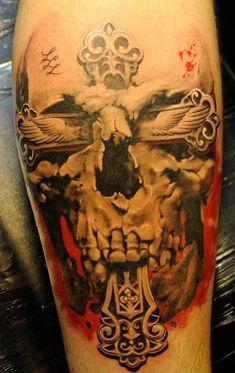 skulls, tattoo ideas, skull tattoos, john maxx, inked men, artist, crosses, cross tattoos, design