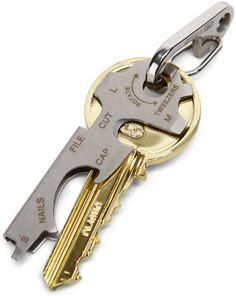 ThinkGeek :: KeyTool Keyring Multi-tool. 8 tools in one--hides surrounding one of your keys.