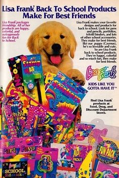 The pure magic of the acid trip for kids that was Lisa Frank.   53 Things Only '80s Girls Can Understand