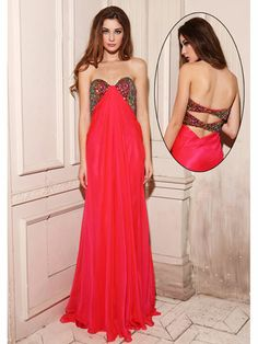 Red Dress With Sequin Bodice And Back Detail