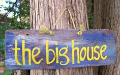 Michigan Wolverines THE BIG HOUSE  Barn Wood Sign Hand Painted Wall Hanging Sports Plaque Decor College Handpainted. $2.25, via Etsy.