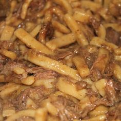 Crock-Pot Beef and Noodles - good leftover roast recipe.  Don't use packaged onion soup mix, but caramelized onions should replace it just fine.