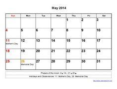 Printable Calendar 2014 May Templates