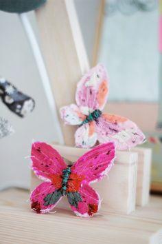 fabric butterflies.