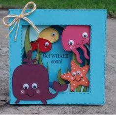 kid playroom, cricut get well cards, box card, shadow box, ocean cards, ocean creatures, panther, shadows, card boxes