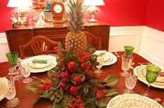 How to make a Colonial Williamsburg Table Setting with Apple Tree Centerpiece