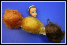 1960's Vintage Fashion Queen Barbie Doll Head & Wigs w/Stand