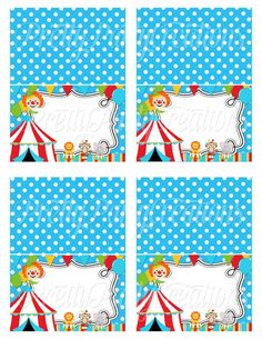 COLORFUL CIRCUS editable tent cards  by PrettyPartyCreations, $8.00