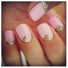 Our favorite nail art - Pink and gold glitter reverse french manicure pairs nicely with a rose gold and diamond pave ring
