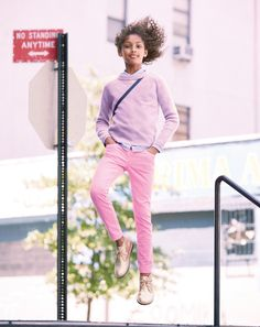 J.Crew girls foldover sweater, tissue oxford shirt, garment-dyed stretch toothpick cord pant, and glitter Macalister boot. To preorder call 800 261 7422 or email erica@jcrew.com.