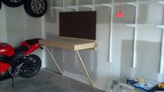Fold down work bench, great for tight spaces.