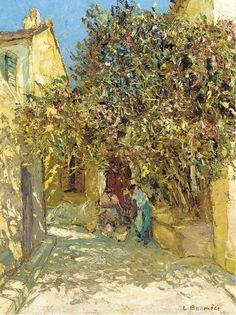 poboh: A sunlit courtyard, Louis Bonamici. French (1880 - 1966)