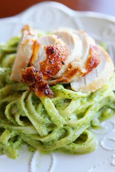 Pasta with Pesto Cream Sauce, topped with Rotisserie Chicken - Kevin & amanda
