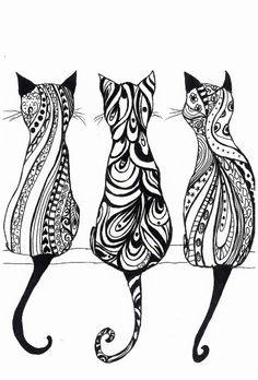Three Cats A4 Monochrome print of original drawing por LittleRedHat kitty tattoo, drawing cat, zentangle cat, cat drawing, cat doodle, tattoos cat, tattoo cat, cat tattoo, cat print