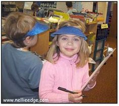 "Children grab a clipboard and don a visor to ""write the room."" Writing-to-Read strategies differentiate learning in Katie Nelson's kindergarten. From ""Kindergarten Writing and the Common Core: Joyful Pathways to the Common Core"" by Nellie Edge (aka Writing-to-Read Accelerates Literacy)."