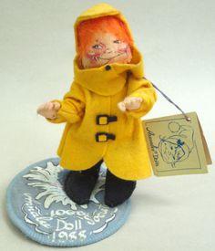 Annalee Doll Society 1988 Logo Kid Felt Sculpted Raincoat Girl Slicker with hang tag