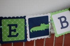 Alligator Banner Welcome Baby Alligator Baby Shower by GiggleBees, $23.00