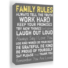 'Family Rules' Framed Wall Art.