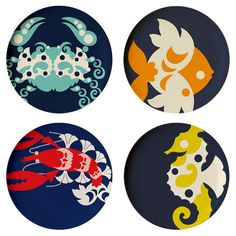 Melamine dinner plates (with adorable coastal motifs) are the perfect way to dine outside. | $44 for a set of four