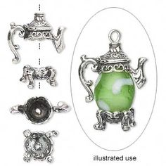 Bead cap, sterling silver, 16x9mm 2-piece teapot with stand, fits 8-10mm bead. Sold individually.
